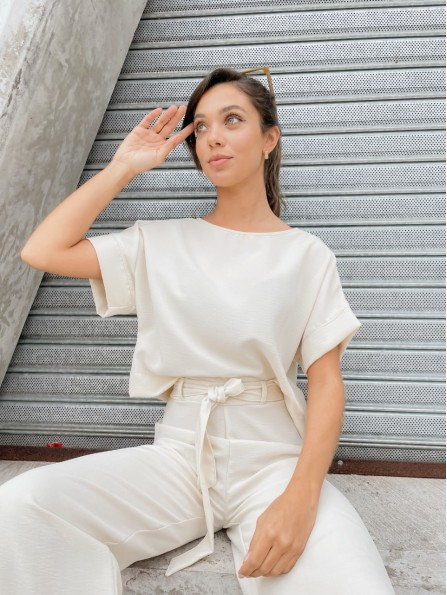BLUSA CONNIE CROPPED BUTTER
