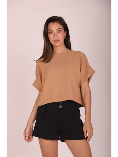 BLUSA CONNIE CROPPED CAMEL
