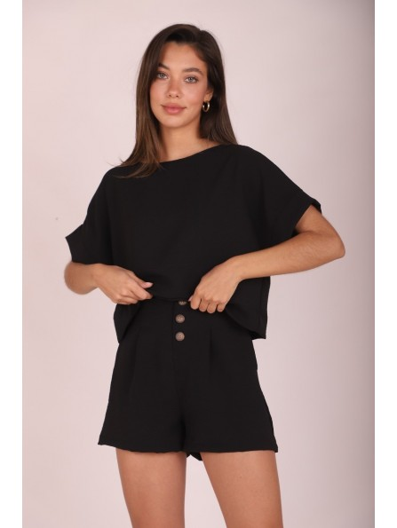 BLUSA CONNIE CROPPED NEGRO